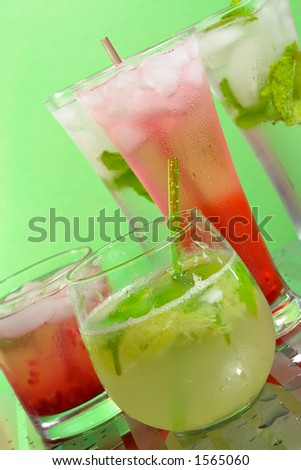 Group of different drinks - stock photo