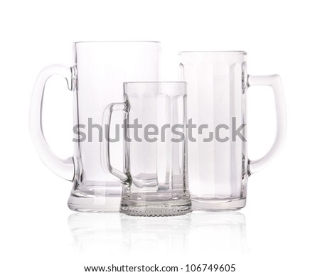 group of different Empty beer mugs isolated on white background.