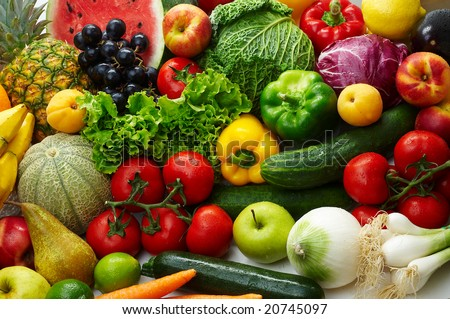 Group of different fruit and vegetables - stock photo