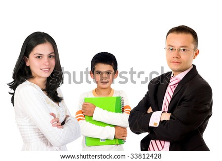 Group of different level students isolated over white - stock photo
