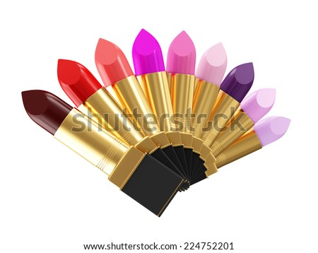 Group of Different lipsticks isolated on white background - stock photo