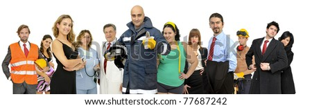 Group of different people isolated in white - stock photo