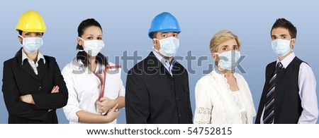Group of different people jobs:doctor,architects or engineers,business man or retired woman standing in a line straight and wearing protective mask trying to protect them from flu epidemiology - stock photo