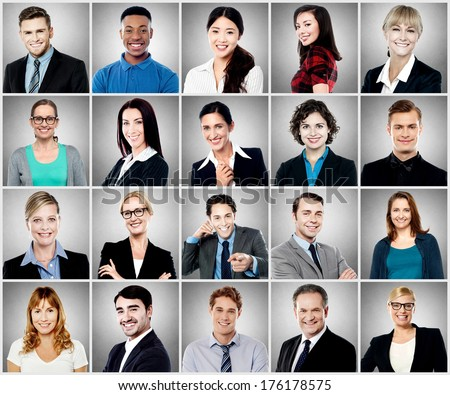 Group of different smiling people - stock photo