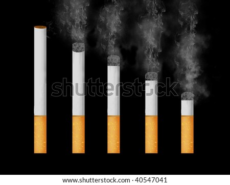 group of different stages of smoking a cigarette on black background
