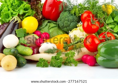 Group of different vegetables on white - stock photo