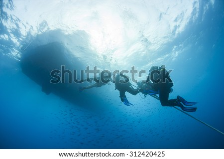 Group of divers decompressing underwater on a rope in open water