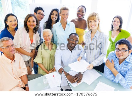 Group of Diverse Business Colleagues Enjoying Success - stock photo
