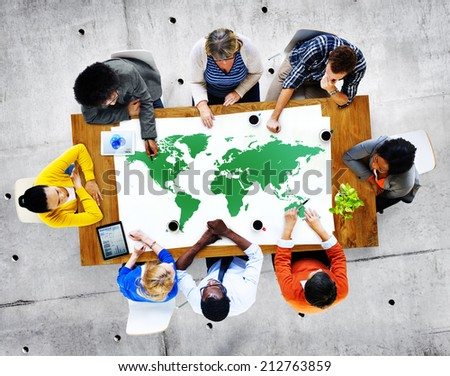 Group of Diverse Business People Discussing About World Issues - stock photo