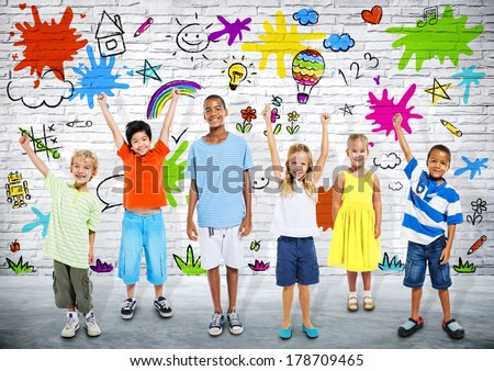 Group of Diverse Children Playing with Colorful Background - stock photo