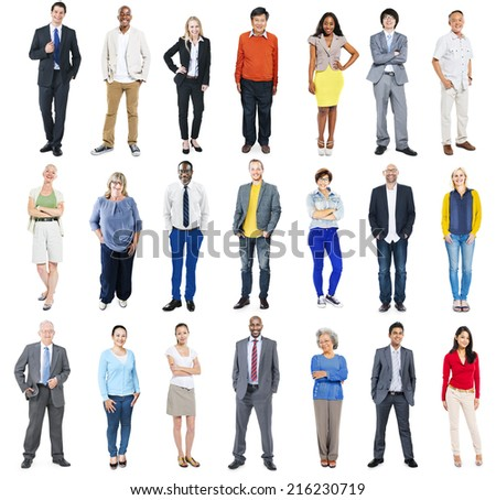 Group of Diverse Colorful Cheerful People  - stock photo