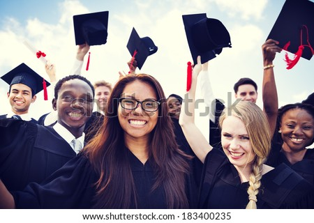 Group of Diverse International Graduating Students Celebrating - stock photo