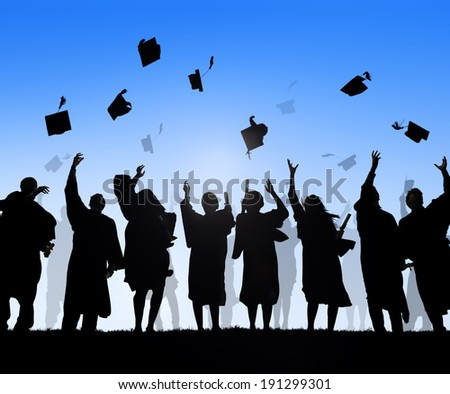 Group Of Diverse International Students Celebrating Graduation - stock photo