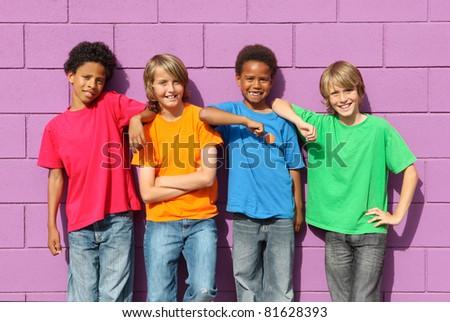 group of diverse mix race kids - stock photo