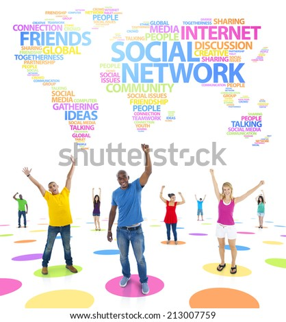 Group of diverse multi-ethnic people celebrating success on different world issues. - stock photo