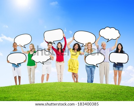 Group of Diverse Multi-Ethnic People Holding Speech Bubbles