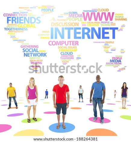 Group of diverse multi-ethnic people standing for different world issues. - stock photo