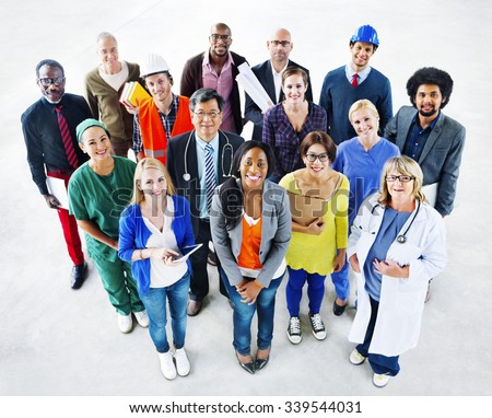 Group of Diverse Multiethnic People Various Jobs Concept - stock photo