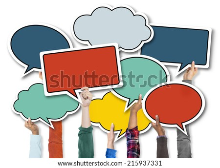Group of Diverse People Holding Colorful Speech Bubbles - stock photo