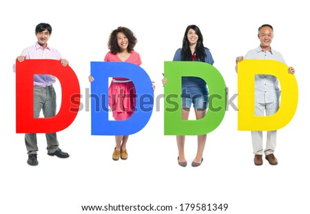 Group of Diverse People Holding The Letter D