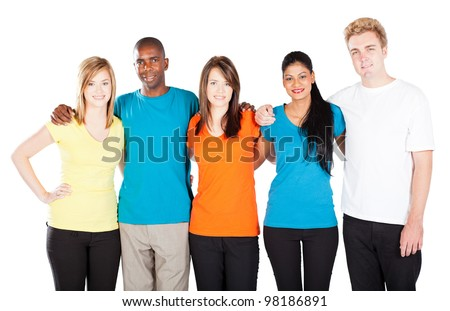 group of diverse people isolated on white