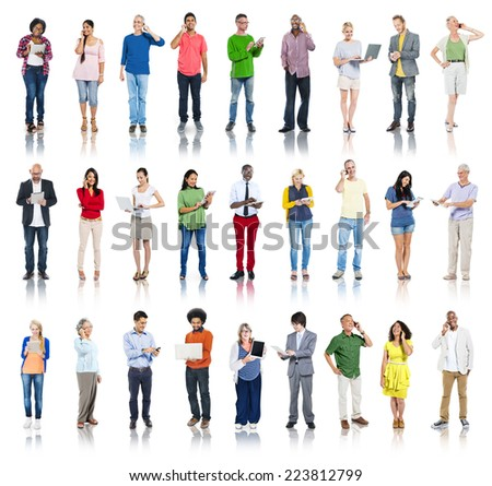 Group of Diverse People Using Digital Devices - stock photo