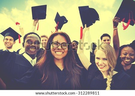 Group of Diverse Students Celebrating Graduation Concept - stock photo
