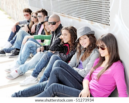 group of diverse urban teenagers - stock photo