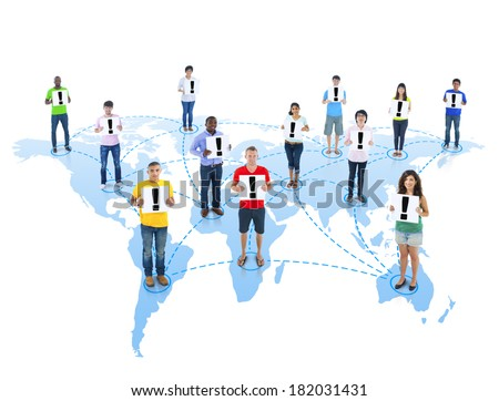 Group of Diverse World People Holding Exclamation Mark