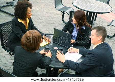 group of diversity business people have a business talk. caucasian, african american, asian
