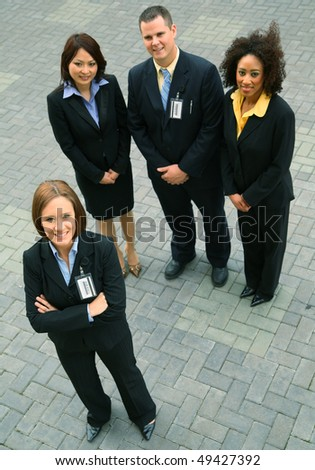 group of diversity business people standing. caucasian, african american, asian