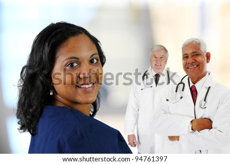 Group of doctors and nurses set on white background - stock photo