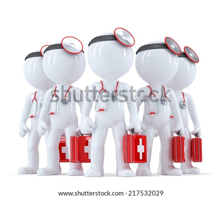 Group of doctors. 3d illustration. Isolated over white. Contains clipping path - stock photo