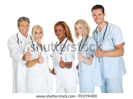 Group of doctors giving thumbs up sign isolated over white background - stock photo