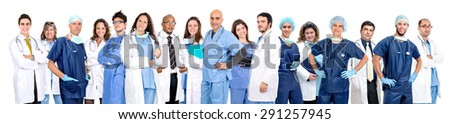 Group of doctors isolated in a white background