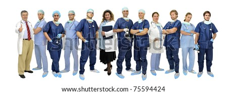 Group of doctors isolated in white