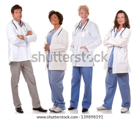 group of doctors on white isolated background
