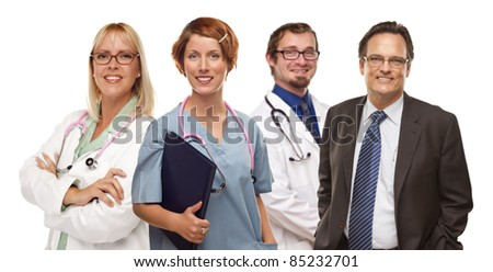 Group of Doctors or Nurses Isolated on a White Background. - stock photo
