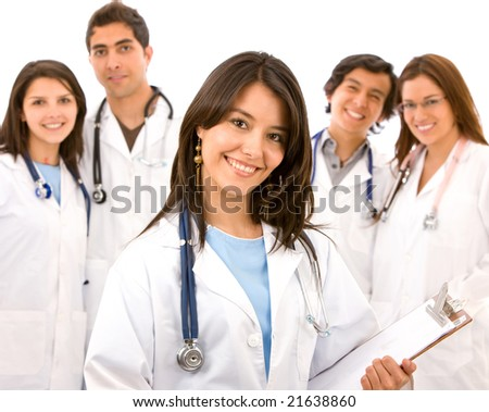 group of doctors standing isolated over a white background - stock photo