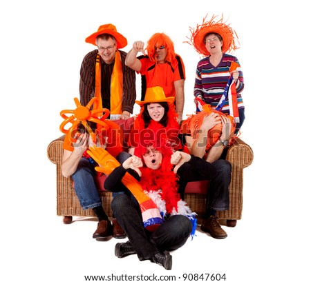 Group of Dutch soccer fan watching game and they lost over white background