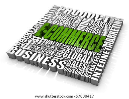 Group of e-commerce related words. Part of a series of business concepts. - stock photo