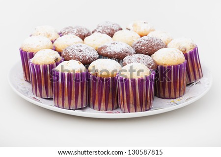 Group of easter cakes on plate - stock photo