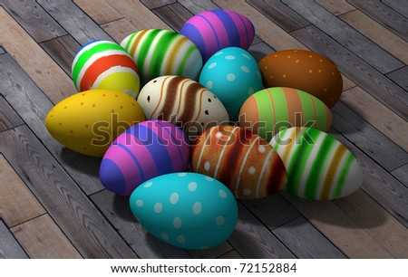 group of easter colored eggs on wood