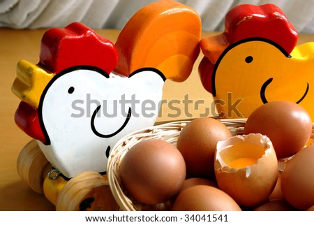 group of eggs and one of them is broken