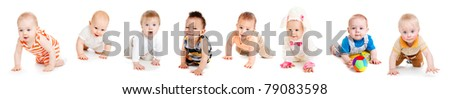 Group of eight babies, crawling, over white - stock photo