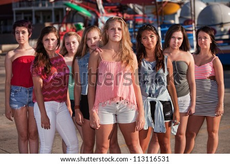Group of eight serious teenage girls standing at an amusement park - stock photo