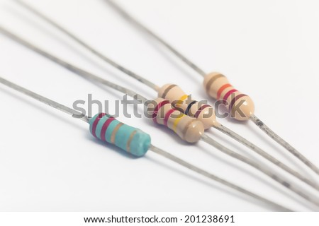 Group of electronic resistors in white background - stock photo