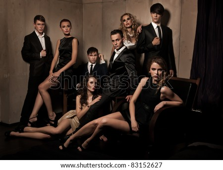 Group of elegant people - stock photo