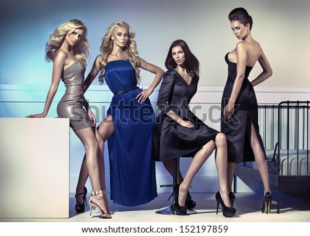 Group of elegant women - stock photo
