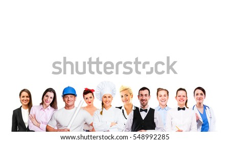 Group of employee people  isolated on white background.